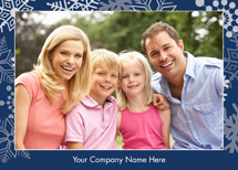Silver Snowflakes on Blue Holiday Photo Card